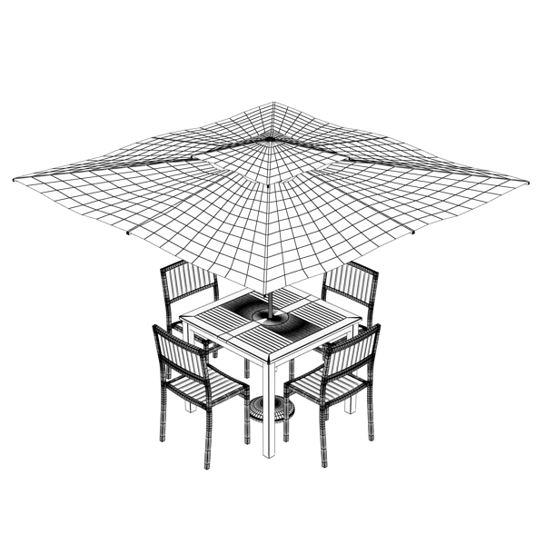 exterior bar table, chair, and parasol 3d model 3ds max obj 148355