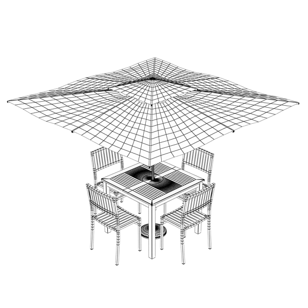 exterior bar table, chair, and parasol 3d model 3ds max obj 148356