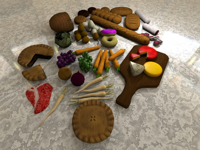 food combo pack 3d model 3ds fbx dae other psd 129023