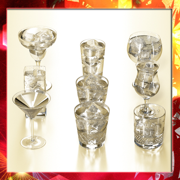 glassware collection – 9 glasses and cups 3d model 3ds max fbx obj 140462