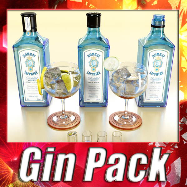 high detailed bombay sapphire collection 3d model 3ds max fbx obj 138776