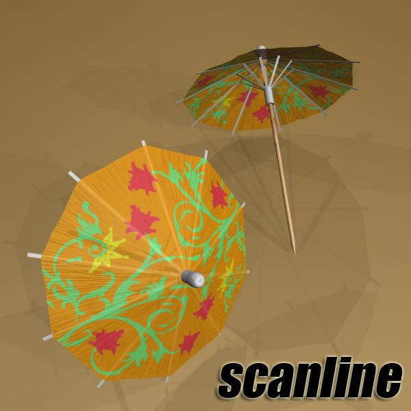 high detailed cocktail umbrella 3d model 3ds max fbx obj 138914