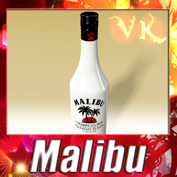 high detailed liquor bottle : malibu. 3d model 3ds max fbx obj 138816