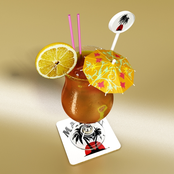high detailed malibu cocktail with umbrella. 3d model 3ds max fbx obj 138972