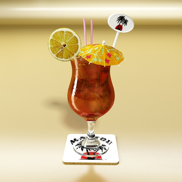 high detailed malibu cocktail with umbrella. 3d model 3ds max fbx obj 138973