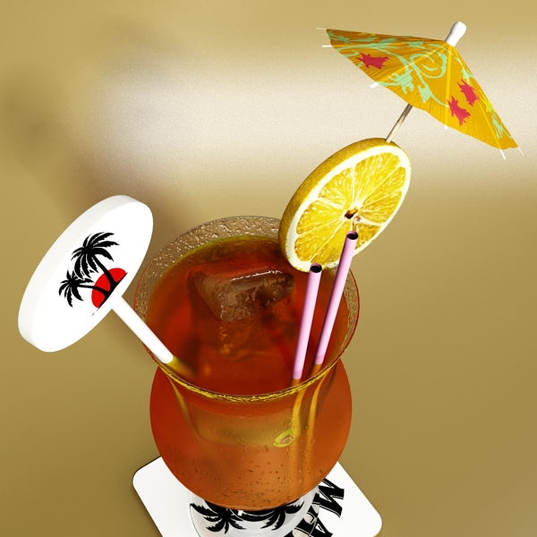 high detailed malibu cocktail with umbrella. 3d model 3ds max fbx obj 138974