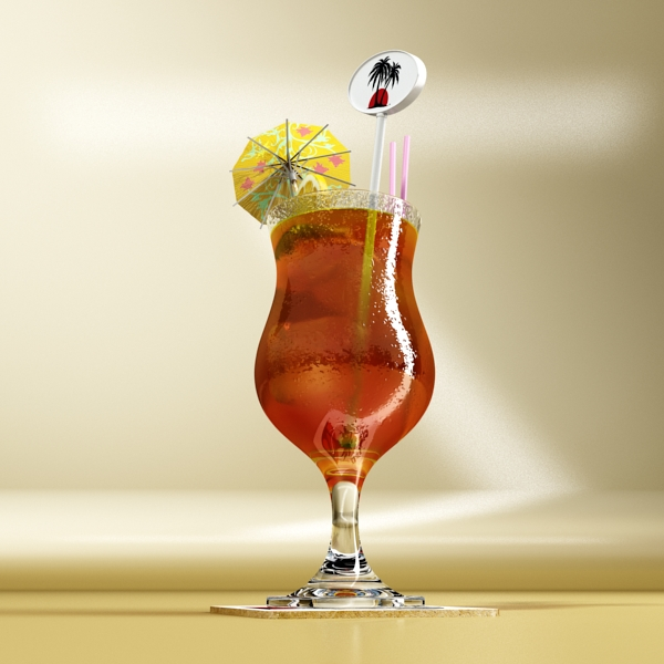 high detailed malibu cocktail with umbrella. 3d model 3ds max fbx obj 138975