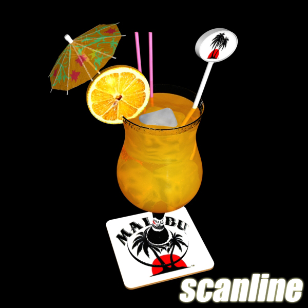 high detailed malibu cocktail with umbrella. 3d model 3ds max fbx obj 138980