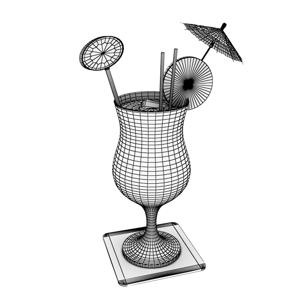 high detailed malibu cocktail with umbrella. 3d model 3ds max fbx obj 138982