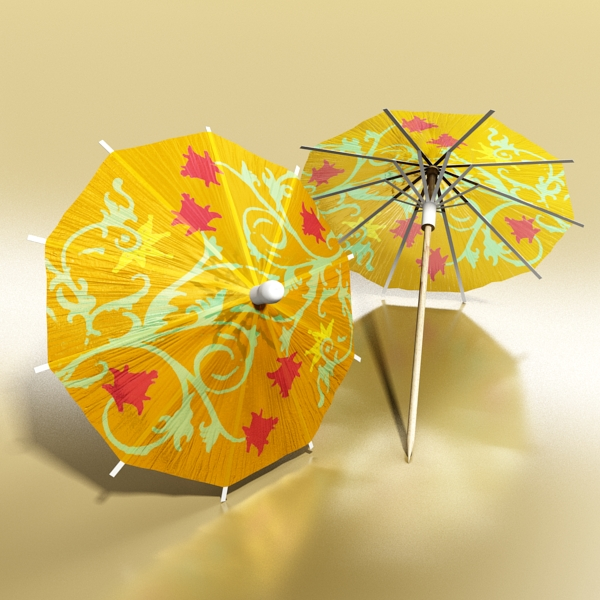 high detailed malibu cocktail with umbrella. 3d model 3ds max fbx obj 138983