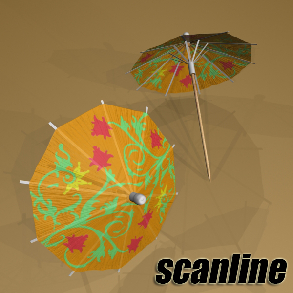 high detailed malibu cocktail with umbrella. 3d model 3ds max fbx obj 138984