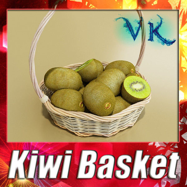 kiwi fruit in basket 3d model 3ds max fbx obj 132791