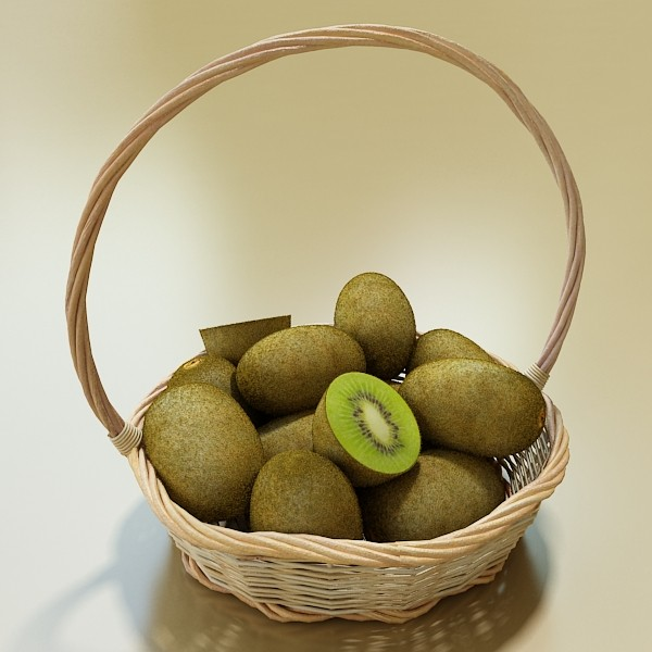 kiwi fruit in basket 3d model 3ds max fbx obj 132793