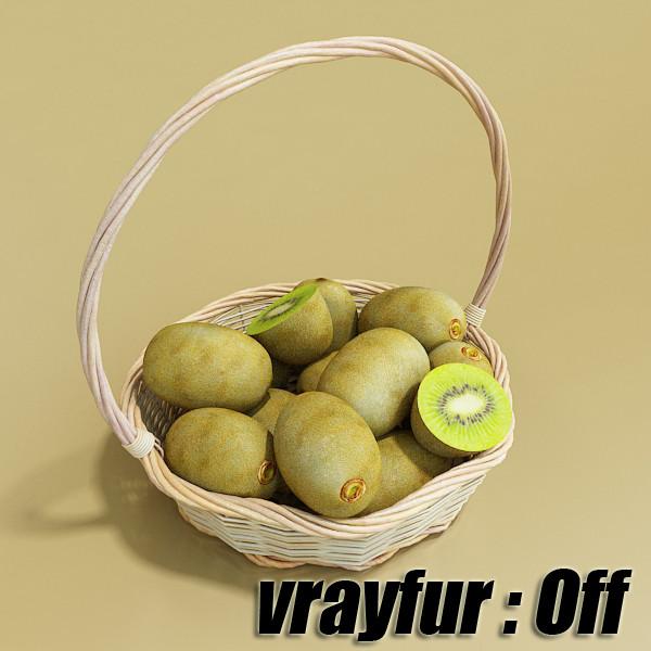 kiwi fruit in basket 3d model 3ds max fbx obj 132797