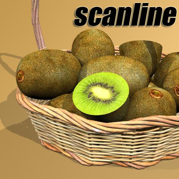 kiwi fruit in basket 3d model 3ds max fbx obj 132798