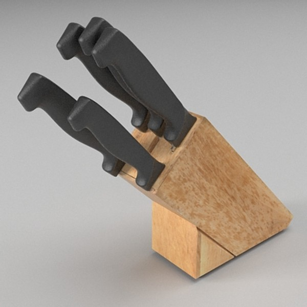 knife block 3d model 3ds fbx skp obj 115336