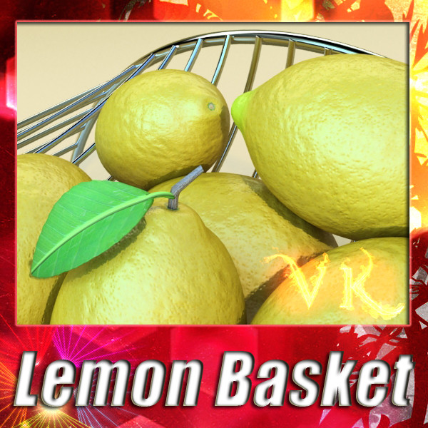 lemons in decorative metal wire container 3d model 3ds max fbx obj 132584
