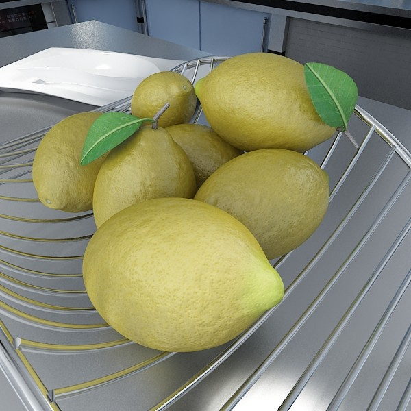 lemons in decorative metal wire container 3d model 3ds max fbx obj 132587