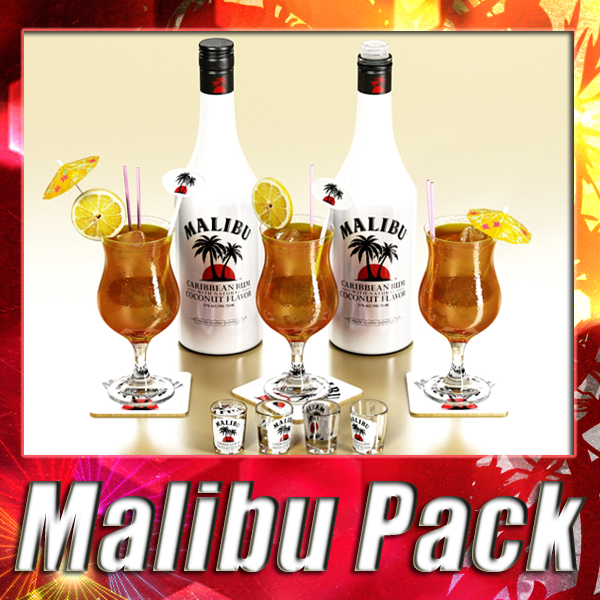 malibu bottle, cocktail and shot glass collection 3d model 3ds max fbx obj 139228