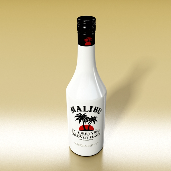 malibu bottle, cocktail and shot glass collection 3d model 3ds max fbx obj 139230