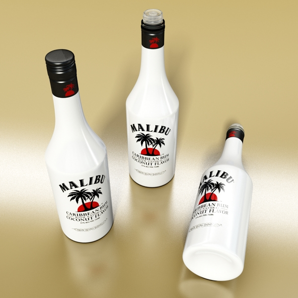 malibu bottle, cocktail and shot glass collection 3d model 3ds max fbx obj 139235