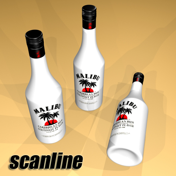 malibu bottle, cocktail and shot glass collection 3d model 3ds max fbx obj 139237