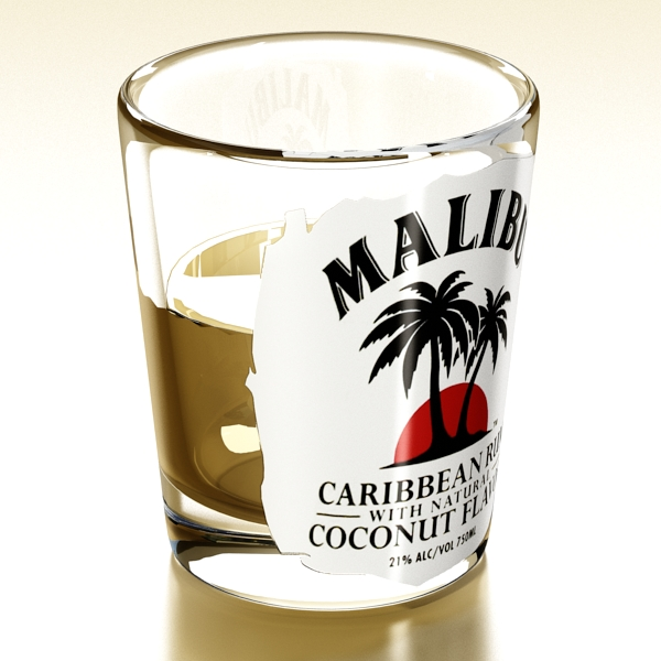 malibu bottle, cocktail and shot glass collection 3d model 3ds max fbx obj 139260