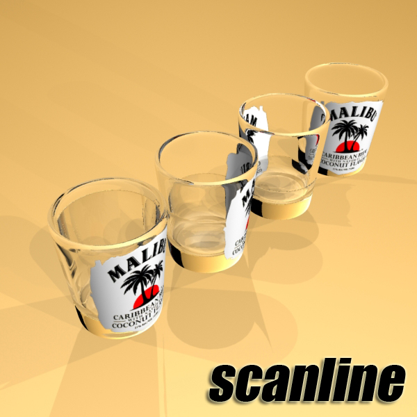 malibu bottle, cocktail and shot glass collection 3d model 3ds max fbx obj 139265