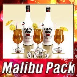 Malibu Bottle, Cocktail and Shot Glass Collection ( 338.36KB jpg by VKModels )