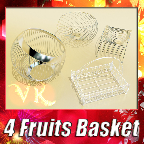 metal basket collection 3d model 3ds max fbx obj 133680