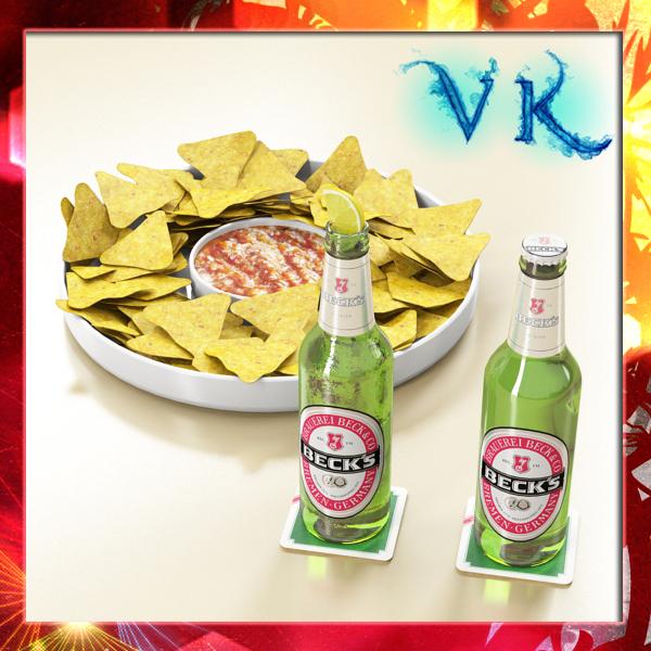 nacho bowl and becks beer bottles 3d model 3ds max fbx obj 148026