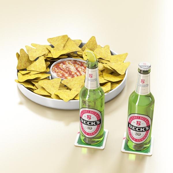 nacho bowl and becks beer bottles 3d model 3ds max fbx obj 148027