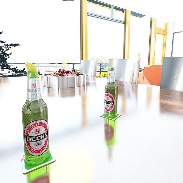 nacho bowl and becks beer bottles 3d model 3ds max fbx obj 148038