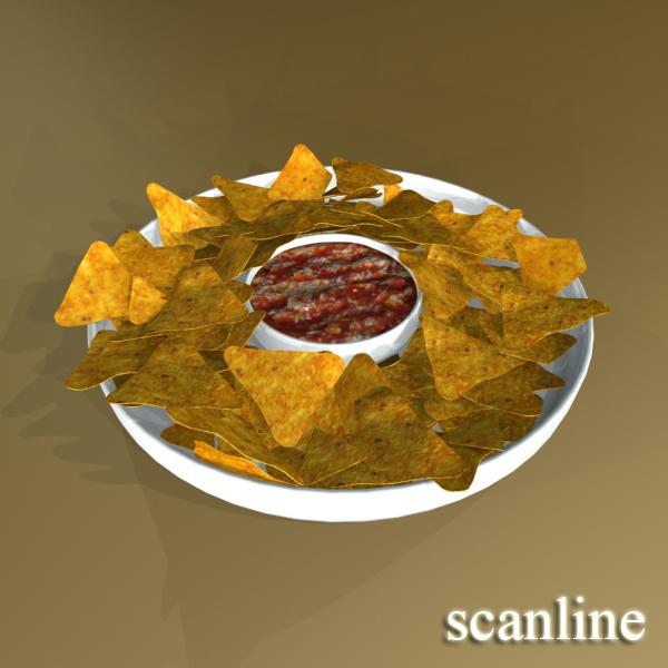 nacho bowl and becks beer bottles 3d model 3ds max fbx obj 148046