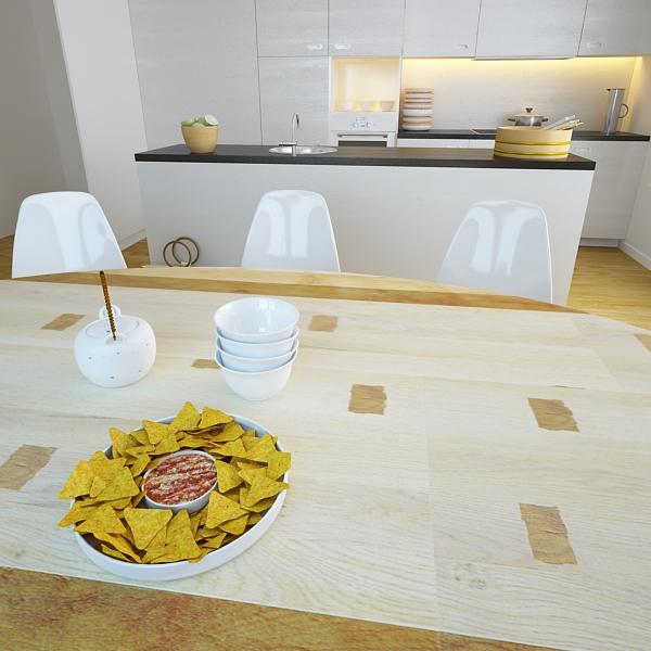nacho bowl and becks beer bottles 3d model 3ds max fbx obj 148047