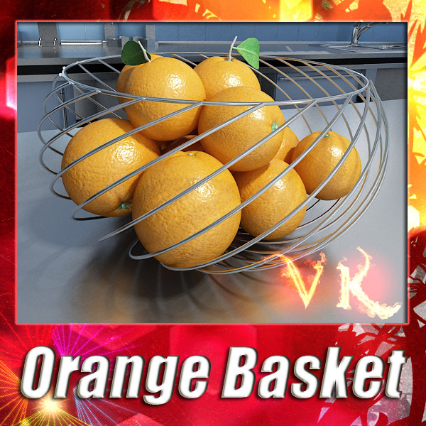 oranges in metal wire decorative basket 3d model 3ds max fbx obj 132642