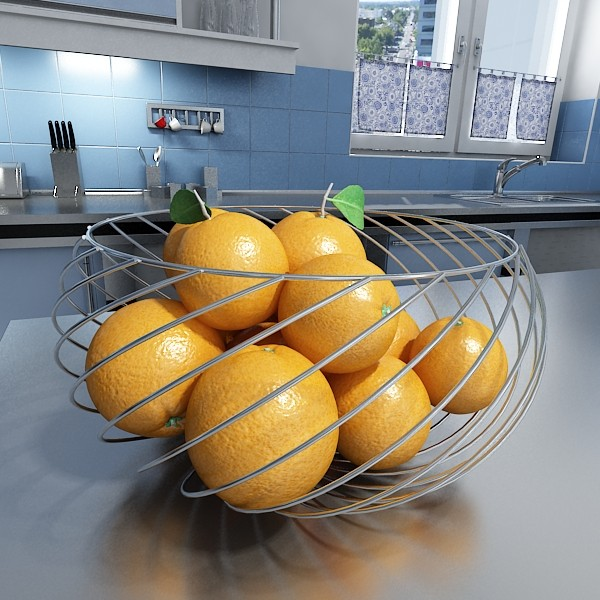 oranges in metal wire decorative basket 3d model 3ds max fbx obj 132645