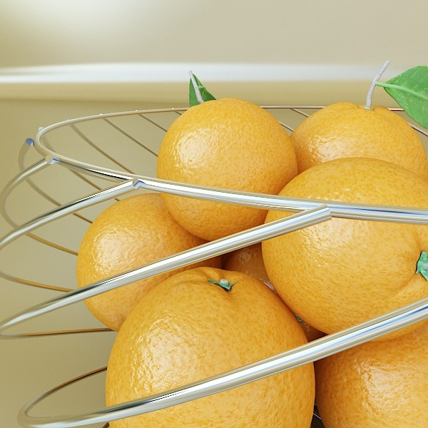 oranges in metal wire decorative basket 3d model 3ds max fbx obj 132647