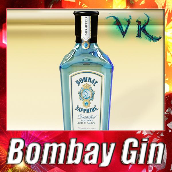 photorealistic bombay sapphire gin bottle 3d model 3ds max fbx obj 138478