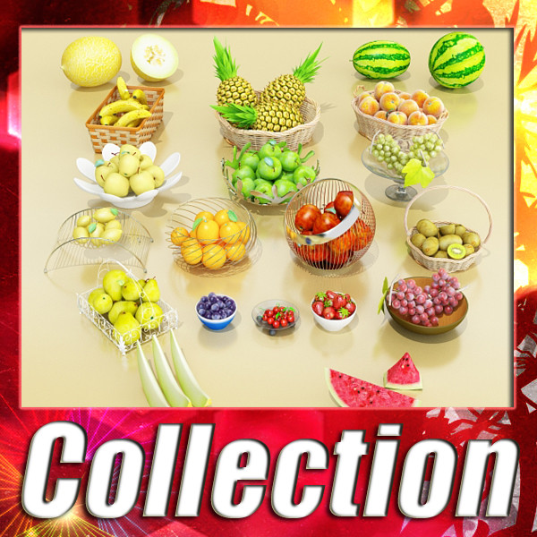 photorealistic fruits collection 3d model 3ds max fbx obj 134259