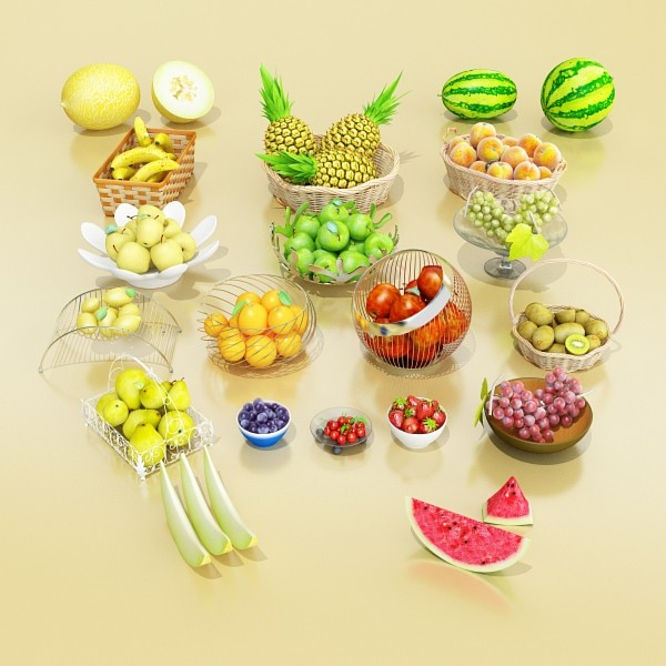 photorealistic fruits collection 3d model 3ds max fbx obj 134260