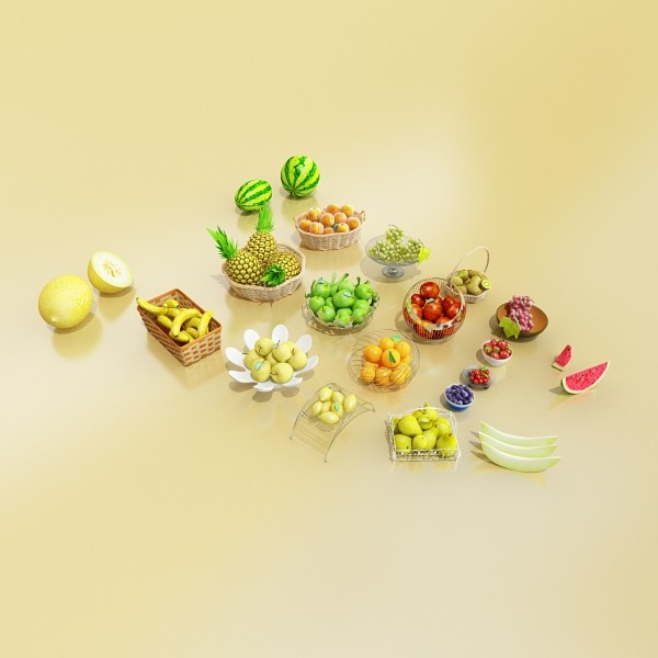 photorealistic fruits collection 3d model 3ds max fbx obj 134261