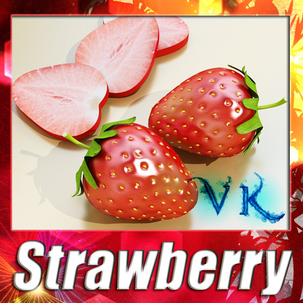 photorealistic strawberry high res 3d model 3ds max fbx obj 133167