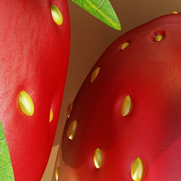 photorealistic strawberry high res 3d model 3ds max fbx obj 133174