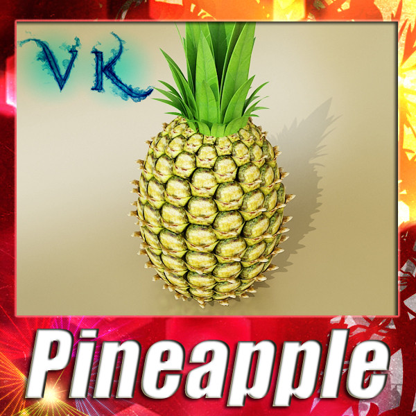 pineapple high detail 3d model 3ds max fbx obj 132981