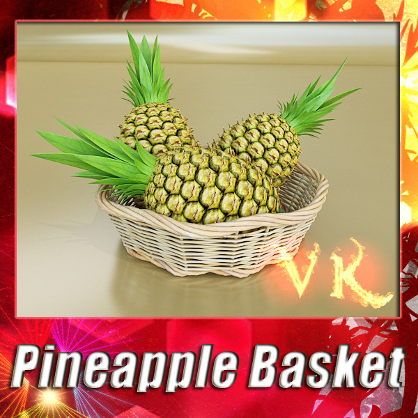 pineapples in wicker basket 10 3d model 3ds max fbx obj 132991