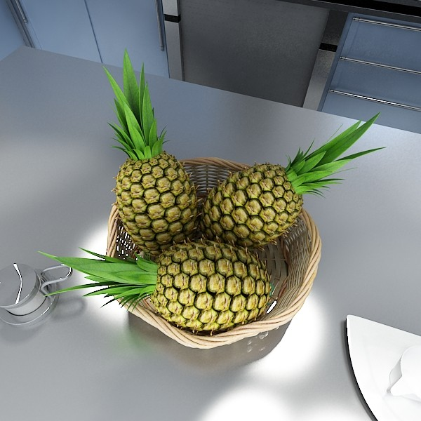 pineapples in wicker basket 10 3d model 3ds max fbx obj 132994
