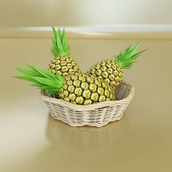 pineapples in wicker basket 10 3d model 3ds max fbx obj 132995