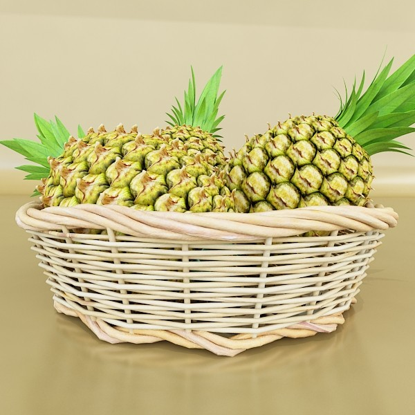 pineapples in wicker basket 10 3d model 3ds max fbx obj 132996