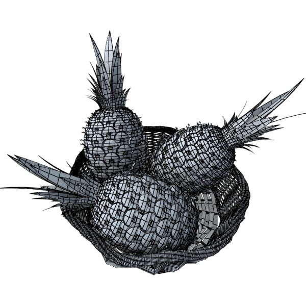 pineapples in wicker basket 10 3d model 3ds max fbx obj 132998